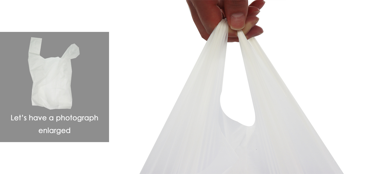 hadles of biodegradable plastic shopping bag