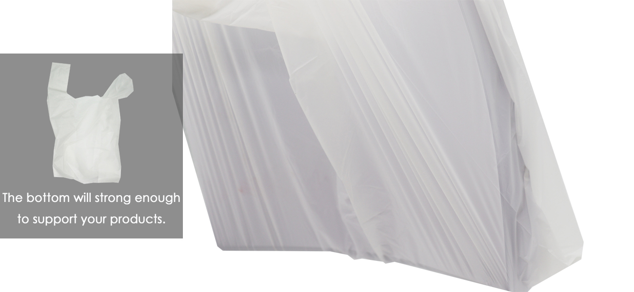 large side gusset of biodegradable plastic shopping bag